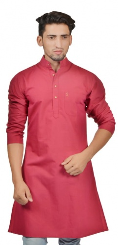 Men Slam Pink Color Solid A-Line Kurta (- S9-MK-201W)
