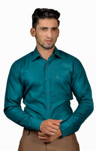 S9 Men Solid,Casual Semi- Formal Cotton Blend Shirt For Men(Peacock Green)  -S9-FS-253A Casual