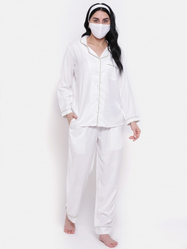 Zinniars Solid White Rayon Night Suit With Contrast Pista Green Piping (Z-2X-PJ-PAJAMA-207A)