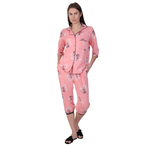 Zinniars Two-Piece cute sleepwear / Nightsuit Capri Set featuring 3/4th sleeve top and Capri pants for relaxed fit(SC-Pj-Capri-20201C)