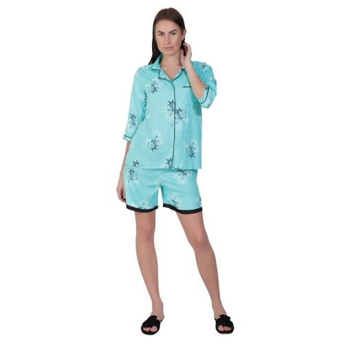 Zinniars Two-Piece cute sleepwear / Nightsuit Shorts Set featuring 3/4th sleeve top and Shorts for relaxed fit(SC-Pj-Shorts-20201A)
