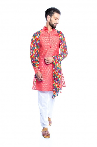 Men Peach Pink Jacquard Woven Designer Kurta with White Trouser fit Pajama with Multi colored scarf (S9-KP-JDOB-201C_with Scarf)