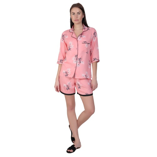 Zinniars Two-Piece cute sleepwear / Nightsuit Shorts Set featuring 3/4th sleeve top and Shorts for relaxed fit(SC-Pj-Shorts-20201C)