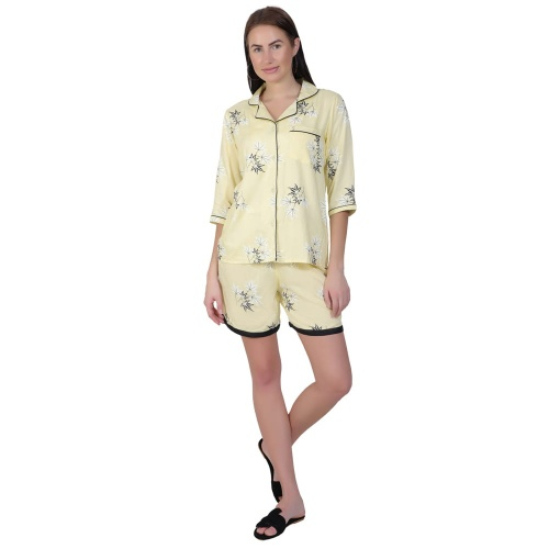Zinniars Two-Piece cute sleepwear / Nightsuit Shorts Set featuring 3/4th sleeve top and Shorts for relaxed fit(SC-Pj-Shorts-20201D)