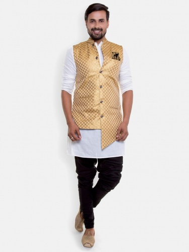 Men 4 Piece Set Round Neck Elegant Party White Full sleeved Kurta With Breaches Fit Pajama with Asymetrical Band gala (S9-IWS-05C)