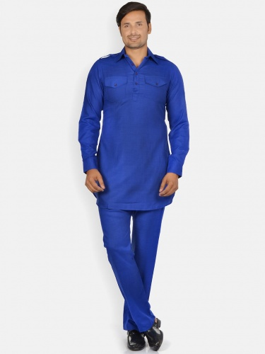 Men Royal blue Solid Pathani Kurta Pyjama (S9-M-PK-203E)