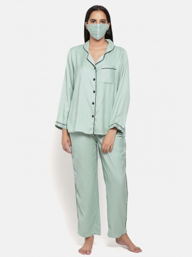 Zinniars Solid Green Rayon Night Suit With Contrast Black Detailing (Z-2X-PJ-PAJAMA-209i)