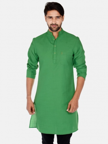 Men Green Solid Straight Kurta(S9-MK-201P)