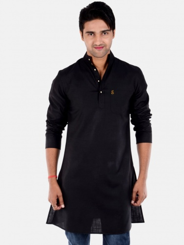 Men Black Solid Straight Kurta (S9-MK-201D)