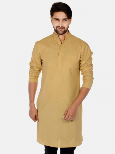 Men Beige Solid Straight Kurta (S9-MK-201O)
