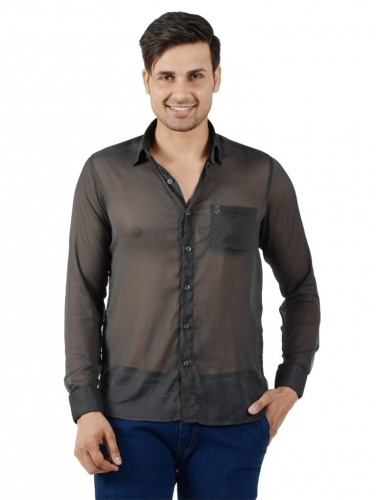 Men Solid Casual Shirt For Men (Grey) (S9-FS-NIC-08)