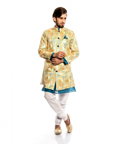 Men Wedding Suits - Multi colored with white Pajama (S9-IWS-01B )